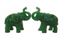 Feng Shui Import Pair of Green Elephant Statues - 4564