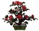 Feng Shui Import White and Ruby Jade Peony Plant - 4643