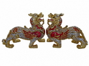 Feng Shui Import Pair of Bejeweled Pi Yao - 4649