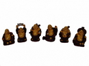 Feng Shui Import Six Little Colorful Redwood Buddha Statues - 4689