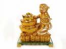 Feng Shui Import 4728 Golden Monkey Statue with Feng Shui Ingot