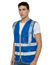 TOPTIE 9 Pockets High Visibility Zipper Front Safety Vest With Reflective Strips, Meets ANSI Standards