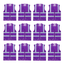 TOPTIE 12 PCS US Size 2 Pockets Mesh Zipper Front Reflective Safety Vests Hi Vis Vests Wholesale