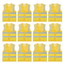 TOPTIE 12 PCS High Visibility Zipper Front Mesh Safety Volunteer Vest With Pockets, Running Gear
