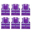 TOPTIE 6 PCS US Size Mesh Safety Vest Zipper Front with 2 Pockets High Visibility Reflective Vest