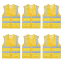 TOPTIE 6 PCS High Visibility Zipper Front Mesh Reflective Vest With 2 Pockets, Volunteer Vest Wholesale