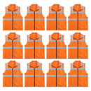 TOPTIE 12 PCS High Visibility Safety Vest With Collar & 2 Pockets, Reflective Waistcoat