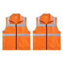 TOPTIE Pack of 2 High Visibility Safety Vest with Collar, 2 Pockets, Zipper for Warehouse Keeper