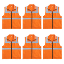 TOPTIE Pack of 6 Stand Collar Hi-vis Vest with Reflective Strips and Pockets Waistcoat Wholesale