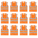 TOPTIE 12 PCS Unisex Safety Vest Zipper Front Mesh High Visibility Vest, Reflective Vest Wholesale