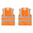 TOPTIE Set of 2 High Reflective Visibility Zipper Front Breathable Safety Vest, Mesh Volunteer vest