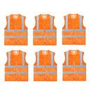 TOPTIE 6 PCS Mesh High Visibility Zipper Front Volunteer Reflector Safety Vest, Sport Gear Wholesale