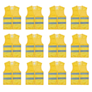 TOPTIE 12 PCS Safety Vest With Reflective Strips Zipper Pockets Volunteer Vest for Running Wholesale