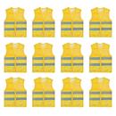 TOPTIE 12 PCS Safety Vest With Reflective Strips Zipper Pockets, Constrution Waistcoat Wholesale