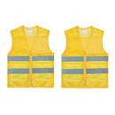 TOPTIE set of 2 High Visibility Zipper Front Mesh Safety Vest with 2 Pockets, Reflective Safety Vest