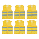 TOPTIE 6 PCS High Visibility  Reflective Vest Zipper Front Mesh Safety Vest with 2 Pockets Wholesale