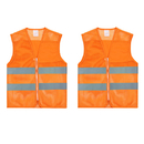 TOPTIE 2 PCS High Visibility Zipper Front Mesh Safety Vest with Reflective Strips for Running