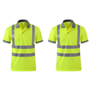 TOPTIE Neon Yellow Polo Shirts Hi Vis Short Sleeve Safety Shirt with Reflective Strips Wholesale