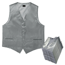 TOPTIE 50 PCS Solid Color Satin Glossy Buttons Front Tuxedo Vest With Adjustable Buckle Wholesale