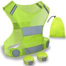 TOPTIE Reflective Vests Running Gear, High Visibility Safe Vest for Women & Men, Included 2 Reflective Bands & Bag