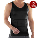 TopTie Men 10 Pack Slimming Body Shaper Tummy Waist Vest Shirt Abdomen Slim