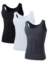 Mens Slimming Body Shaper Waist Trainer Vest Chest Gynecomastia Compression Shirt, 3 Pack