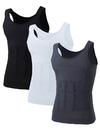 Mens Slimming Body Shaper Waist Trainer Vest Chest Gynecomastia Compression Shirt, 3 Pack