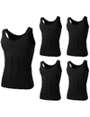 TopTie Men 5 Pack Slimming Body Shaper Vest Shirt Abdomen Slim, Compression Vest Shapewear