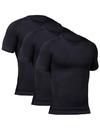 TopTie Men's 3 Pack Compression Undershirt, Short Sleeve Slimming Body Shaper