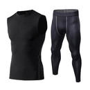 TOPTIE Men Quick Dry Compression Shirts and Pants 2Pcs Set Workout Fitness Bodysuit