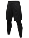 TOPTIE 2 in 1 Men's Active Running Shorts, Basketball Tights Pants