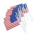 Aspire 10PCS/Pack 8.2X5.5 Inches Hand Held Flags American Decoration For Parades & Holidays With Plastic Stick Round Top