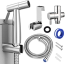 Muka 18/8 Stainless Steel Handheld Bidet Sprayer for Toilet with Full Pressure & Leakproof Bathroom Attachment for Feminine Hygiene, Washing Baby Diaper Cloth