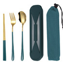 Muka 3 pcs Portable Cutlery Set including Fork, Spoon and Chopsticks with Case for Travel / Work / Camp
