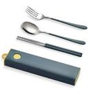 Muka Set of 3 Stainless steel Portable Flatware Set Chopsticks Fork Spoon Utensils for Travel / Camping / Work /School