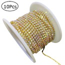 10 Packs Gold Rhinestone Chain 11 Yards Per Roll 2MM Crystal Jewelry Making