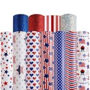 Muka Craft Vegan Leather Fabric Sheets American Flag Faux Leather Multi Styles 12 x 8 Inches Bulk Glitter Sequins for DIY Craft, Earrings Making