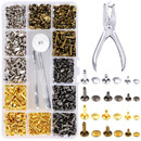 360 Sets Double Cap Rivet Kit, Rapid Studs Rivets and Punch Press Setting Tool, 4 Colors Assorted, Hat Rivet for Leather, Craft, Jeans