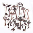 Skeleton Key Charms 40 Pcs, Antique Mixed Styles Key Set Charms Bulk Lots, Handmade Accessories for DIY Pendant, Jewelry Making