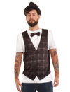 Faux Real F130702 Hipster Bow Tie Vest w/ Tattoo