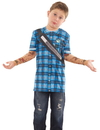 Faux Real F134200 Youth Hipster Plaid Tattoo Tee W/ Mesh Sleeves