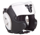 Fighter Leather Sparring Headguard, Black/White - NL2796