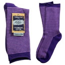 Maggie's Organics 227181 Purple Striped Cushion Crew Socks 9-11