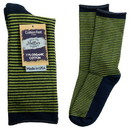 Maggie's Organics 227185 Navy/Green Striped Cushion Crew Socks 9-11