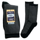 Maggie's Organics 227187 Grey/Black Striped Cushion Crew Socks 9-11