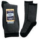 Maggie's Organics 227188 Grey/Black Striped Cushion Crew Socks 10-13