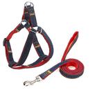 GOGO Dog Leash Harness Adjustable Durable Denim Nylon Leash Set for Small Medium Large Dogs, Perfect for Training, Walking, Jogging