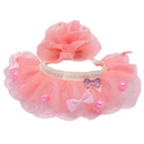 GOGO Lace-up Dog Collar Ruffled Tulle Collar with Hair Bow Clip for Dog Cat, Party Dog Dress Accessories