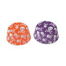 Doughmakers 4354 Purple and Orange Skull Bake Cups, Food-Safe Paper