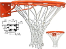 GARED 39WO Institutional Fixed Basketball Rim, Front Mount Stationary, No-Tie Net Attachment, Regulation Single 5/8